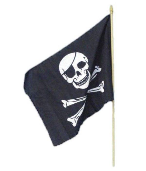 Piratenvlag op stok 45x30cm