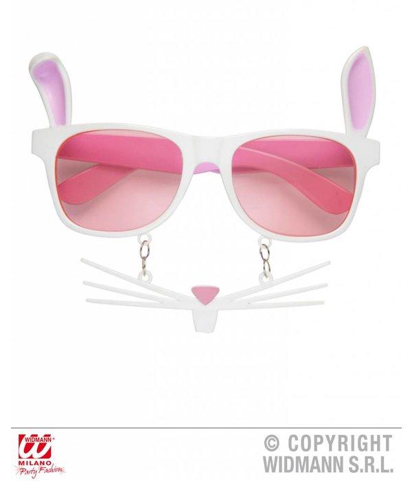 bril konijn met snorharen