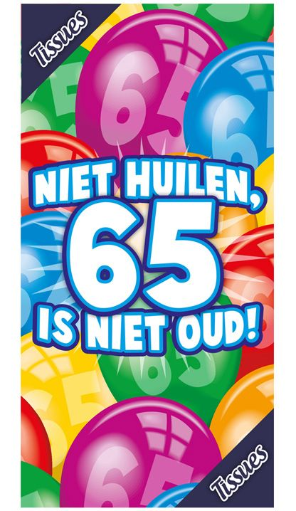 afbeelding 65 jaar Tissuebox 65 jaar   Feestbazaar.nl afbeelding 65 jaar