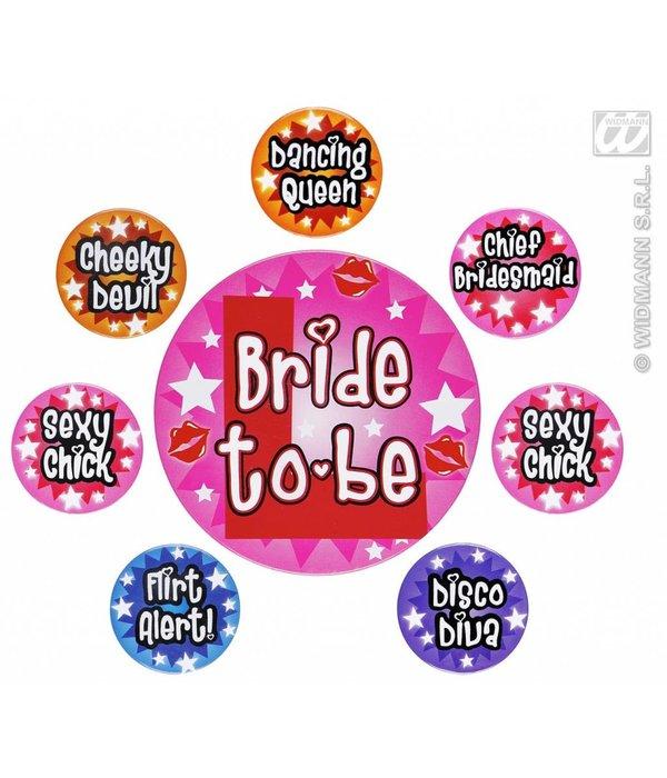 Set van 8 Buttons Vrijgezellen feest dames