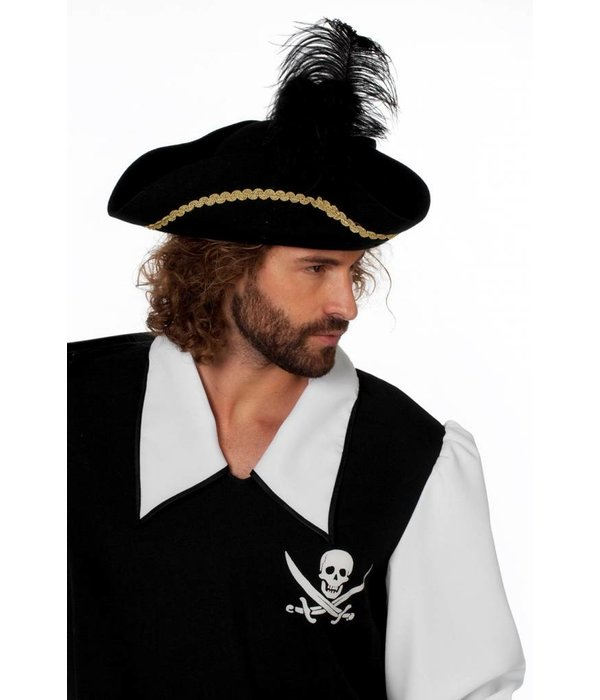 Wolvilt Piratendriesteek zwart