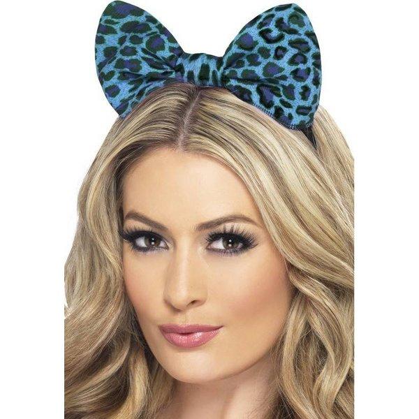 Luipaard strik blauw op hoofdband