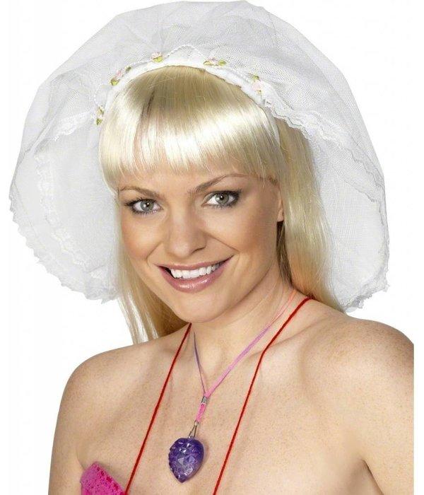 Vrijgezellen Sluier wit met hoofdband