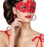 Masker stof met parels rood