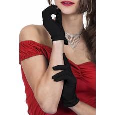 Gala handschoenen zwart satijn 20cm