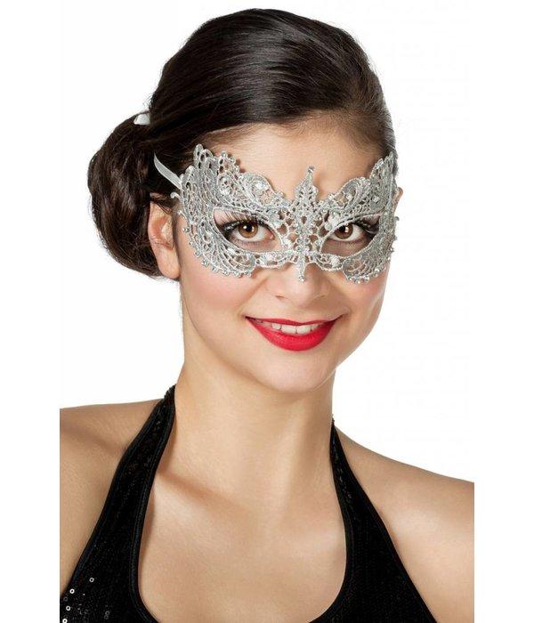 Masker stof met steentjes zilver