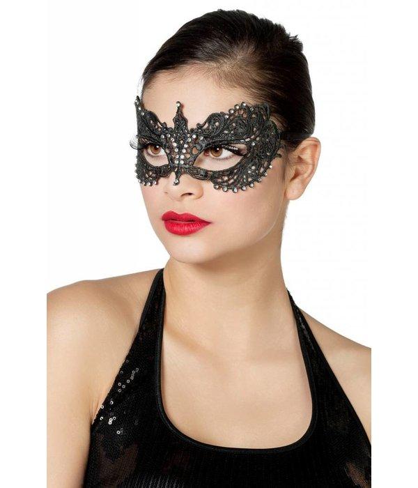 Masker stof met steentjes zilver/zwart
