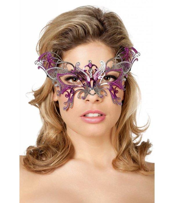 Masker vlinder metaal roze