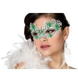Masker vlinder met steentjes groen metaal