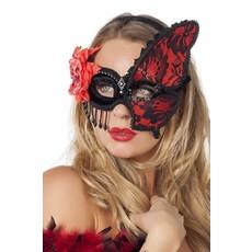 Masker met kant rood