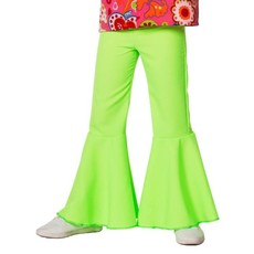 Hippiebroek bi-stretch kind neon groen