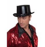 Hoge hoed lamee met paillettenband zwart