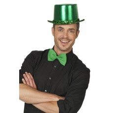 Hoge hoed lamee met paillettenband groen