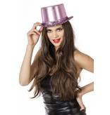 Hoge hoed lamee met paillettenband roze