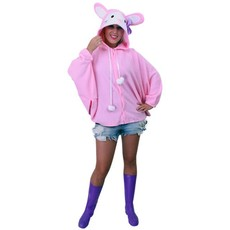 Jumper roze konijn pluche met paars strikje