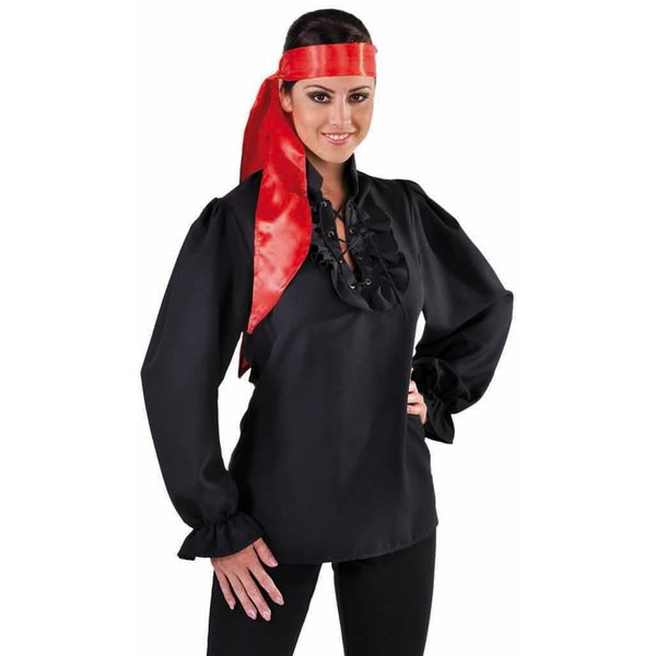 Piratenblouse dames zwart