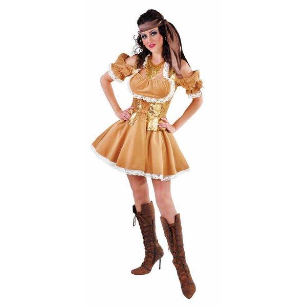 Piratenkostuum vrouw goudbruin elite
