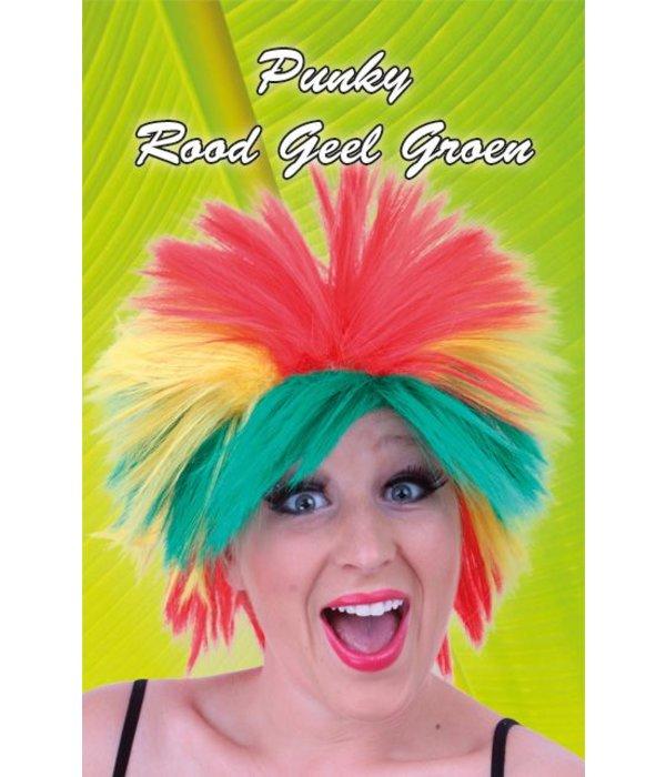 Pruik punky rood/geel/groen