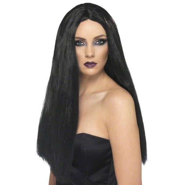 Heks pruik zwart lang