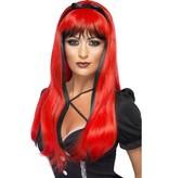 Betoverende heksenpruik rood/zwart