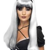 Betoverende heksenpruik zilver/zwart