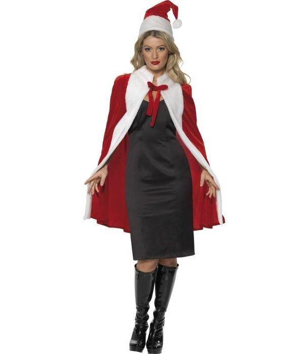 Kerst cape luxe met muts