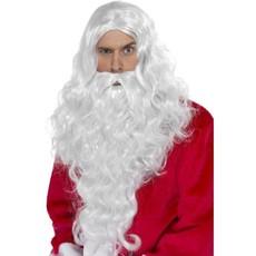 Kerstman pruik en baard lang