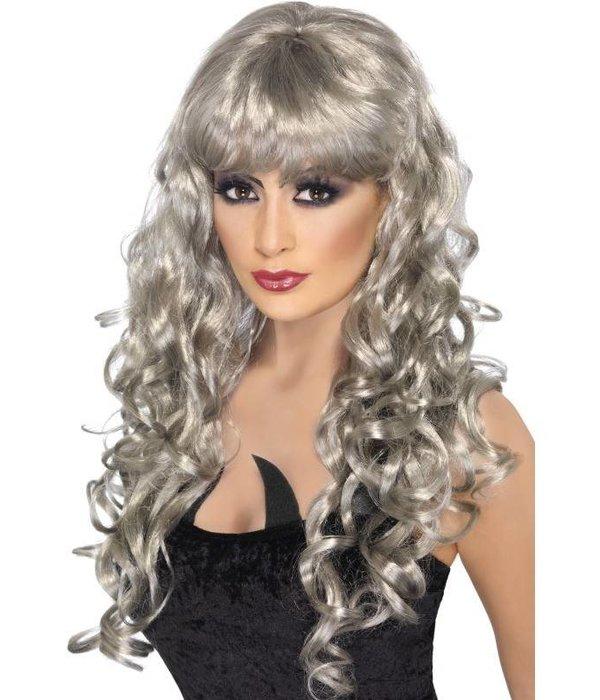 Pruik Siren lang haar zilver