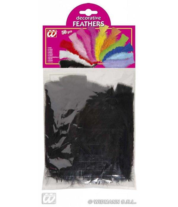 Zakje met 50 veertjes zwart