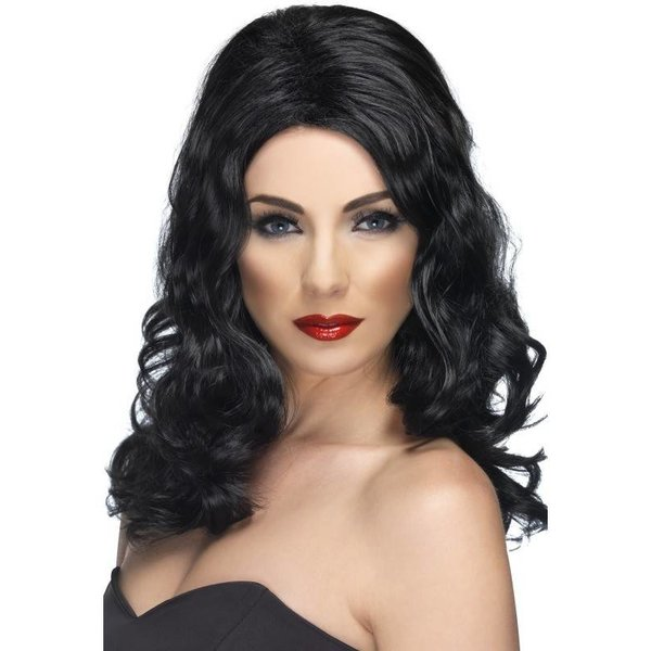 Glamour pruik lang zwart