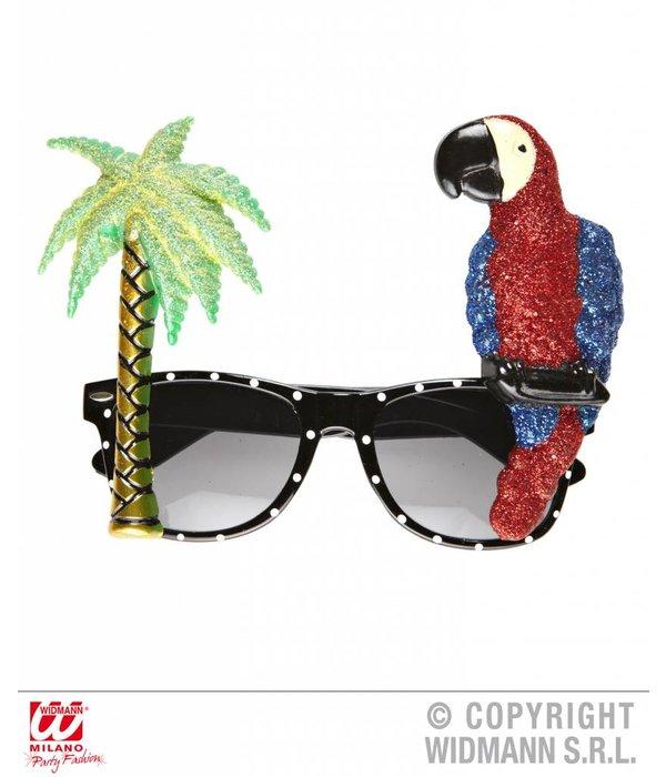 Bril papegaai en palmboom