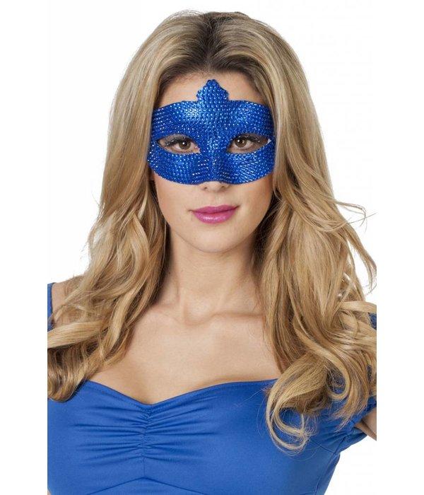 Masker met steentjes blauw