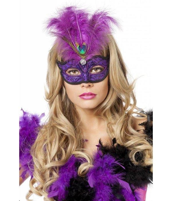 Venetiaanse masker met pauwenveer paars