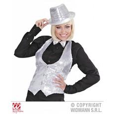 Glittervest zilver vrouw