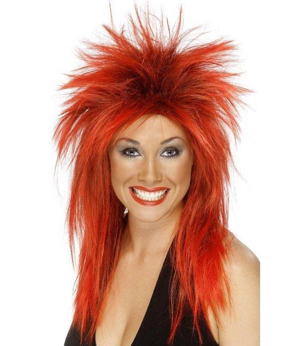 Diva rock pruik rood/zwart