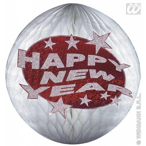 Happy new year papierdecoratie rood