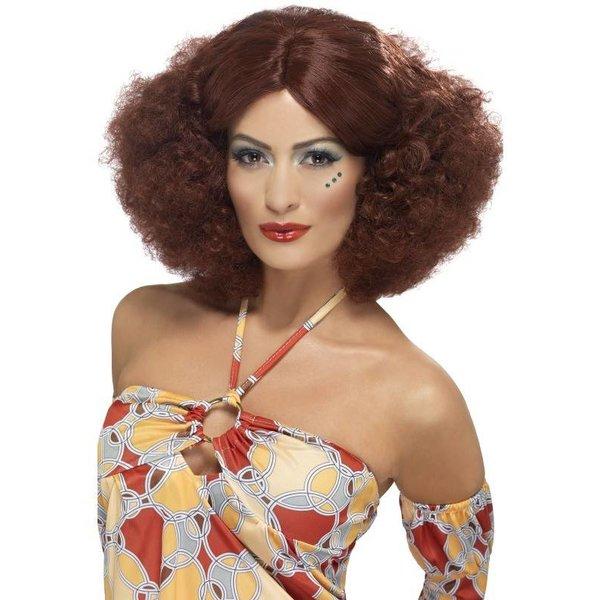 70's pruik curly bruin