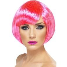 Glamour pruik bobline neon roze