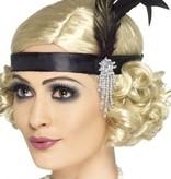 Charleston hoofdband zwart met veer en juwelen detail