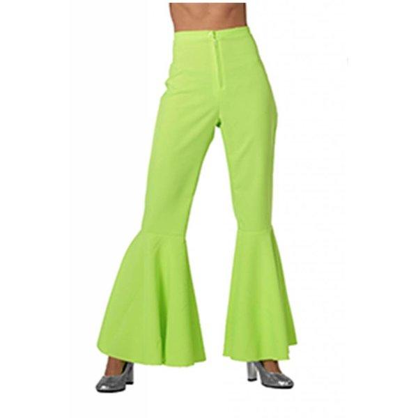 Hippie broek bi-stretch neon groen