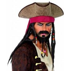 Piraten hoed met bruine dreadlocks