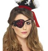 Piraten ooglap rood met zwart kant