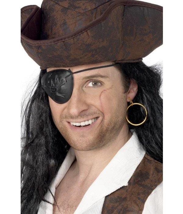 Piratenooglap met oorbel