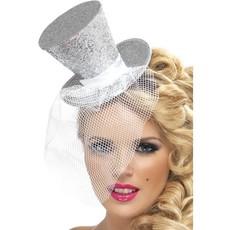 Fever mini hoedje zilver