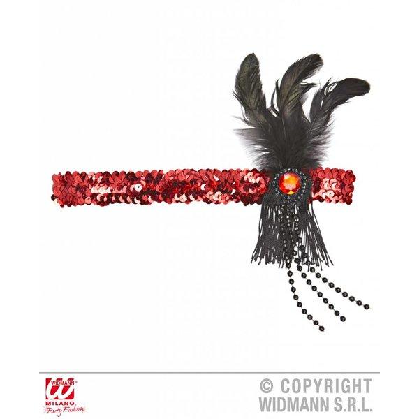 Hoofdband 20's pailletten rood