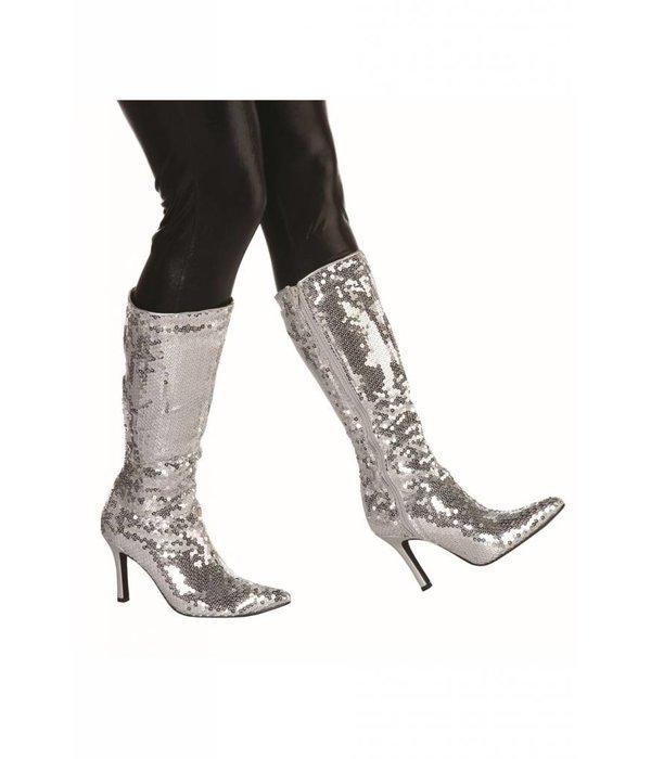 Laarzen pailletten zilver
