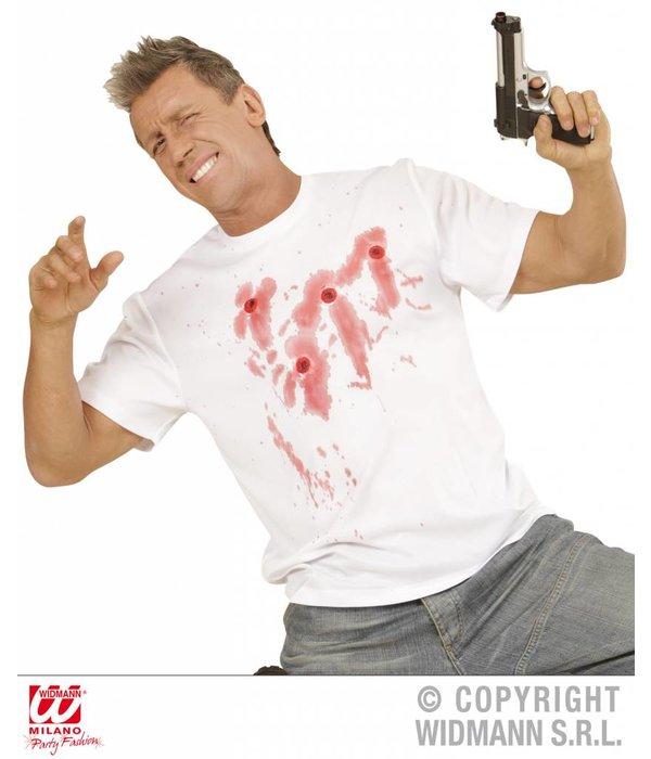 Shirt met kogelgaten