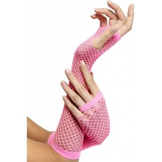 Visnet handschoenen hot pink