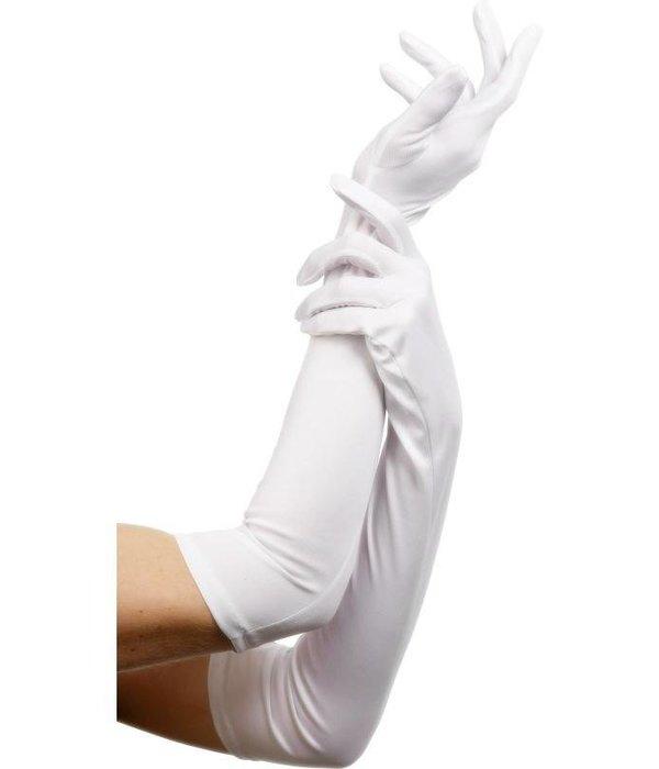 Handschoenen lang wit 52cm