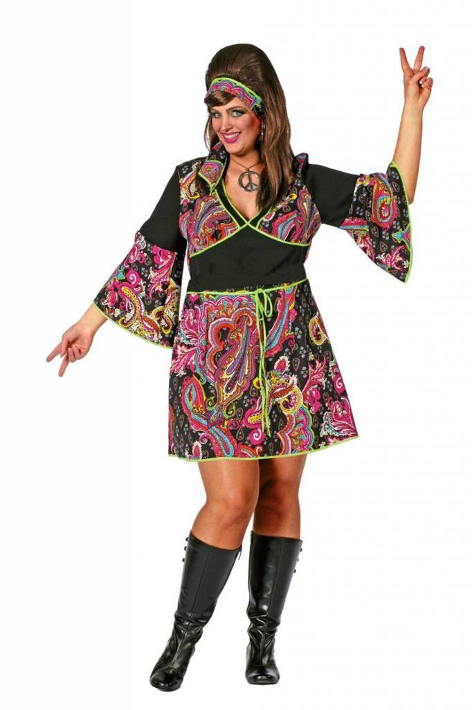 Hippie jurk grote maat met hoofdband - Feestbazaar.nl